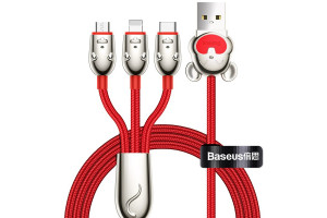 Baseus 3-in-1 USB Cable iP+Type-C+Micro interface device